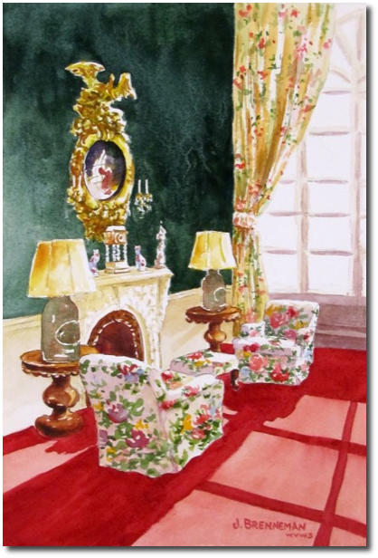 Victorian Writing Room watercolor by Jeanne Brenneman