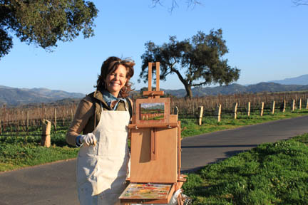 Frances painting in vineyard, photo by Camille Dellar