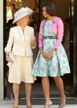 Camilla, Duchess of Cornwall, and Michele Obama at Winfield House