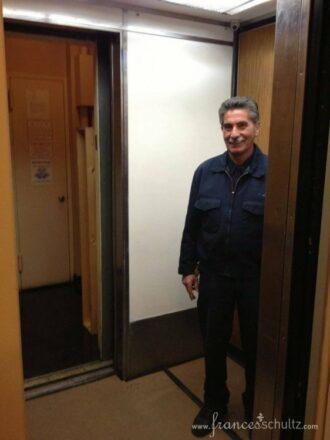 Billy manning the elevator.