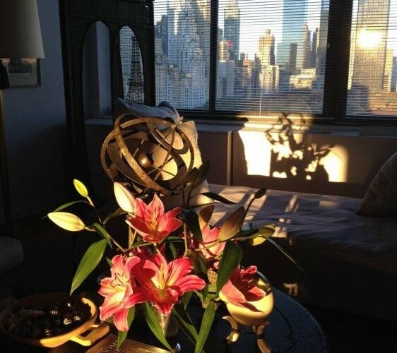 Lilies in our New York apartment in the autumn light.