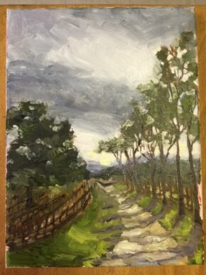 <p>I love this view and drive it almost every day. 9 x 12, oil on canvas panel, sold but can do a similar on approval, $325.</p>