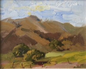 <p>This is the view from our driveway at Rancho la Zaca. Never gets old. 8 x 10 oil on canvas panel, not for sale but can do similar on approval, $325.</p>