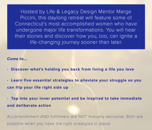 Excerpt from website for the Women's Leadership Retreat on May 11