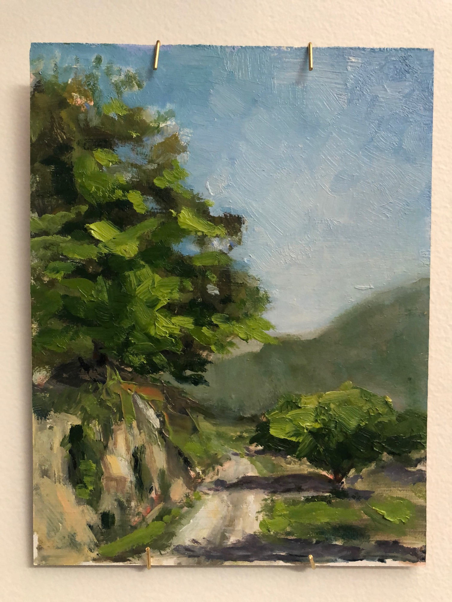 French Country Road, 6x8, oil on panel, by Frances Schultz