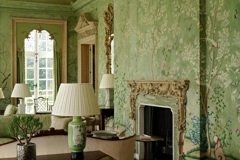 Wallpaper detail - Green Room - Winfield House