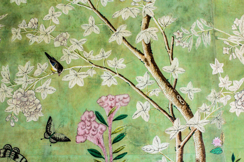 Wallpaper detail of Green Room at Winfield House