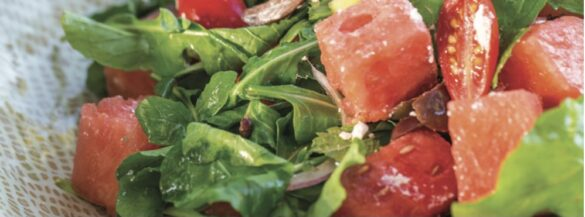Watermelon Tomato Feta Saladp with Arugula and Herbs, from California Cooking and Southern Style by Frances Schultz, Recipe Stephanie Valentine